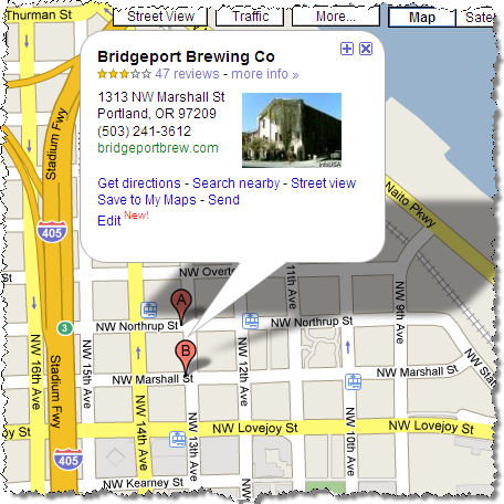 Google Map - Bridgeport Brewing Co, 1313 NW Marshall Street, Portland, OR 97209